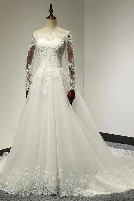 Boat Neck Lace Top A-Line Tulle Wedding Dress With Long Sleeve Bridal gown Plus size