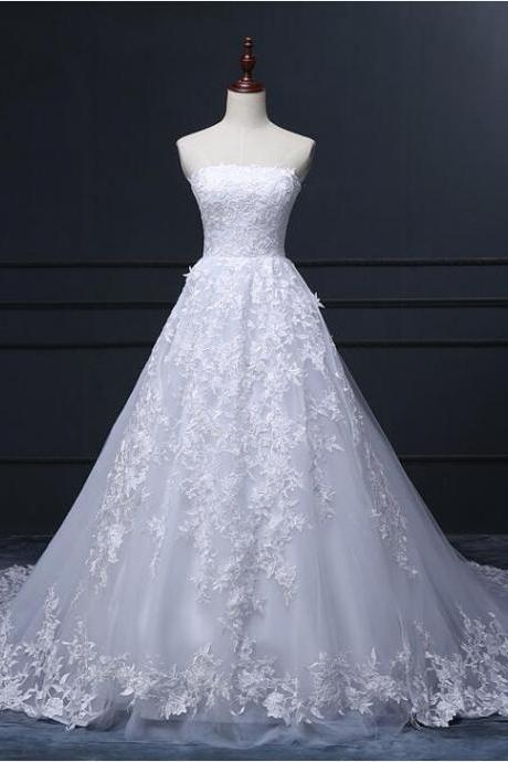Fashion Strapless White/Ivory Lace Tulle Puffy Skirt Long Wedding Dress 2016 Bridal Gown