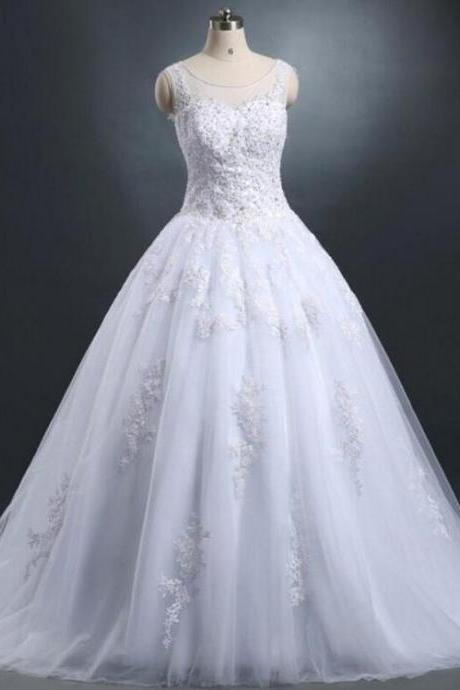 Lace Wedding Dresses 2016 Vintage Ivory Appliques Beaded See Though Tulle Puffy Princes Bridal Ball Gowns