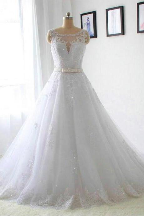 2016 New Model Crystal Belt Lace Appliques Wedding Dresses