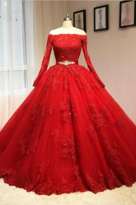 Sexy Long Sleeve Off Shoulder Red Wedding Dress princesa Bridal gown 2017