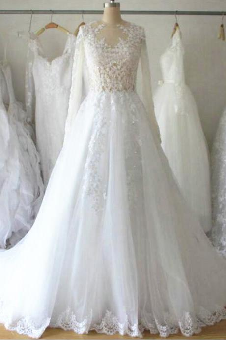 2016 New Wedding Dress Sexy Long Sleeves White/Ivory Tulle Bridal gown