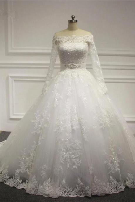 Puffy Skirt Long Sleeve Off Shoulder Lace Appliques Wedding Dress 2016 Bridal gown