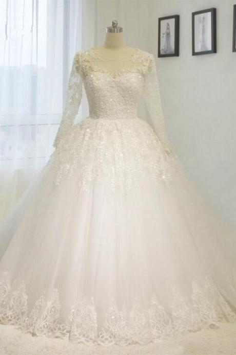 High Quality Wedding Dresses Plus Sizes With Lace Beading Long sleeve A line Bridal gown