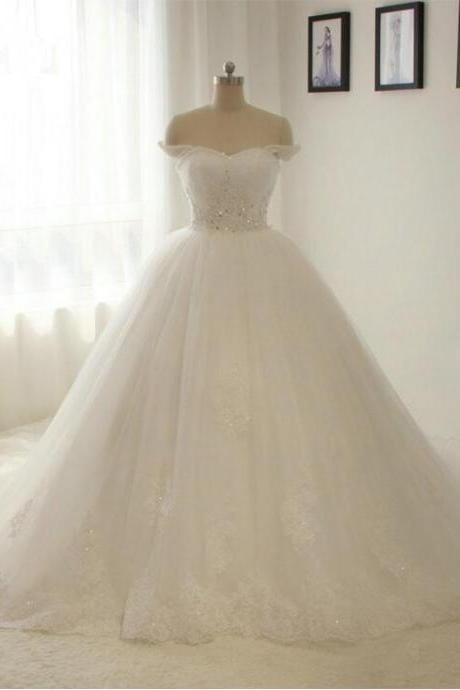 New Wedding Dress Off Shoudler Lace Appliques Wedding Gown A line Bridal gown