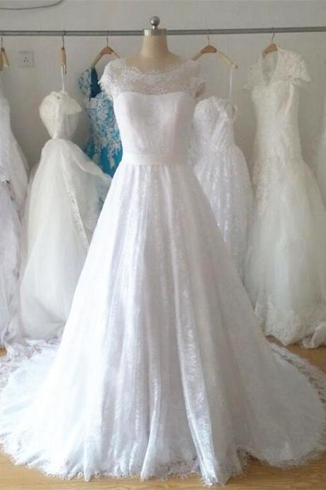 2017 Simple Elegant Cap Sleeve High Quality Hot Sale Soft Lace Wedding Dress A line White/Ivory Bridal gown
