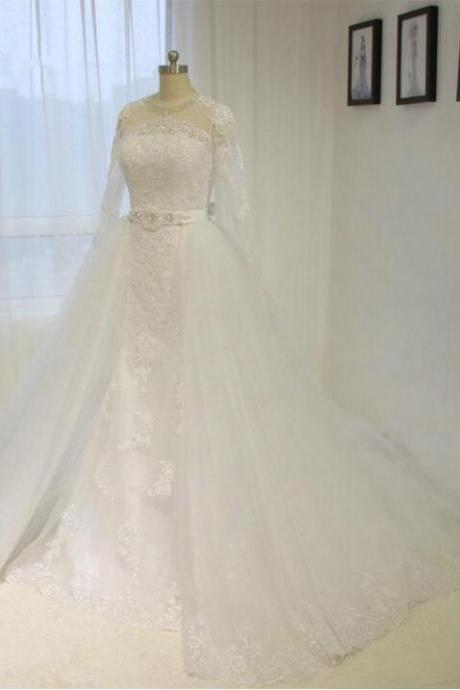 Long Sleeve Lace Wedding Dresses With Removable Train A line White / Ivory Bridal gown Plus size
