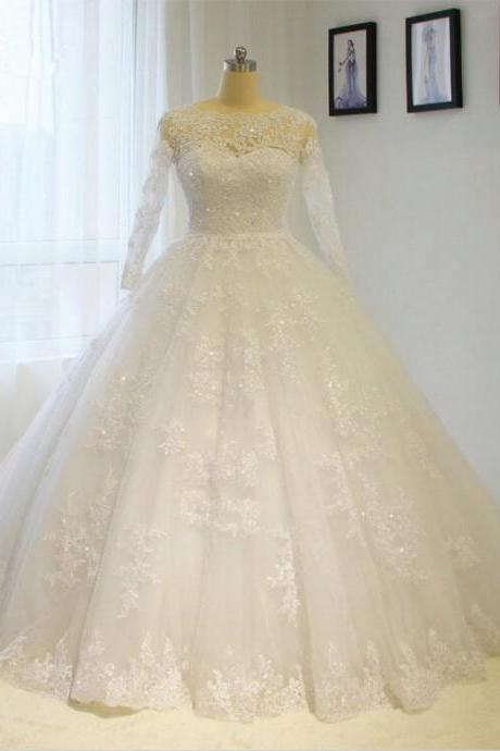 2017 New Puffy Lace Appliques Long Sleeve Wedding Dress Custom sizes White/Ivory A line Bridal gown Ball gown