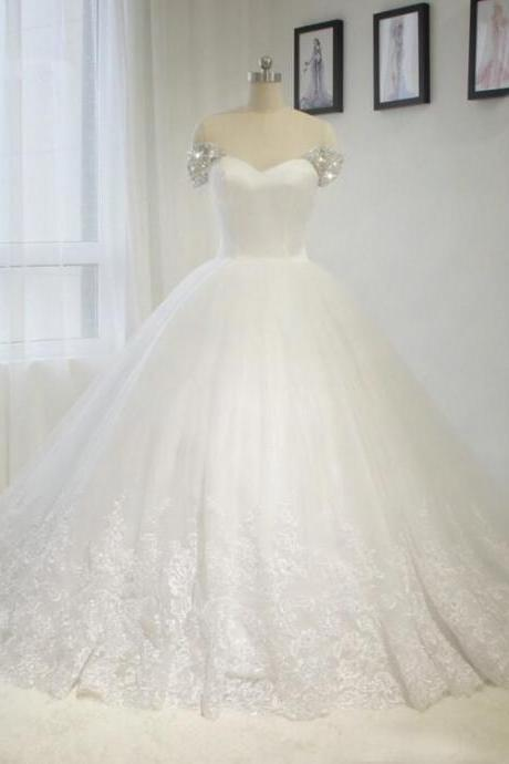Puffy Skirt Beaded Straps Lace Wedding Gowns Sweetheart A-line White / ivory Bride dress Custom size