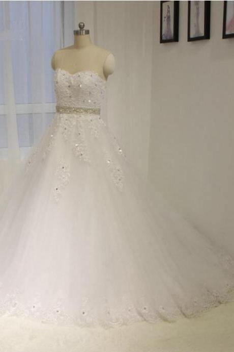 2016 New Sweetheart Neckline Lace Wedding Gown A line White / ivory Bead belt Bride dress Custom size