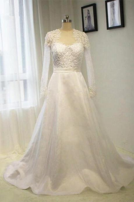 2016 New Long Sleeve Full Pearls Wedding Dress A line White / ivory Bride dress Plus size