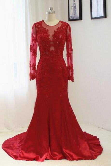 2016 New Red Wedding Dress Mermaid Sexy Lace applique Long sleeves Bride dress Custom size