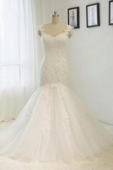 Gorgeous Mermaid Wedding Dresses 2016 Vestido De Noiva Lace applique Bridal Dress Gown High Quality Plus size