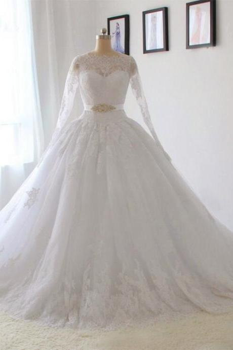 Long Sleeves Lace Wedding Dresses Elegant Wedding Dress A line White / ivory Bride dress Custom size