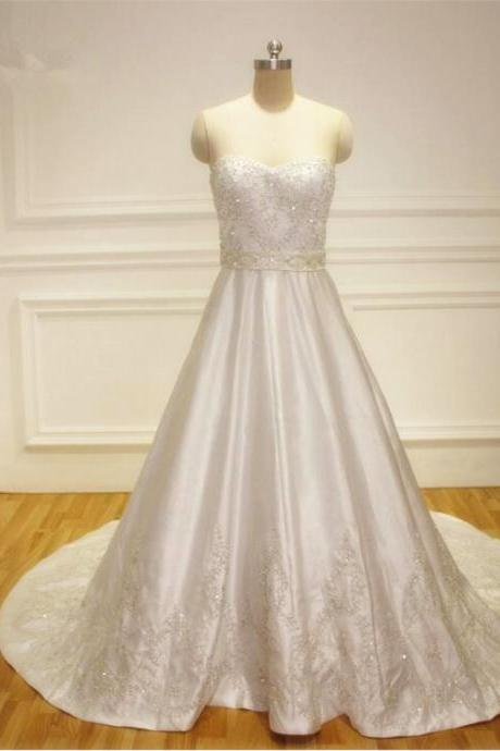 Strapless Sweetheart Beaded A-line Satin Wedding Dress Featuring Lace-Up Back and Court Train