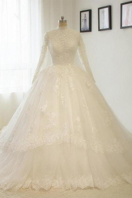 Fashion High-neck wedding dress lace wedding ball gown Long sleeves A line White / ivory Bride dress Custom size