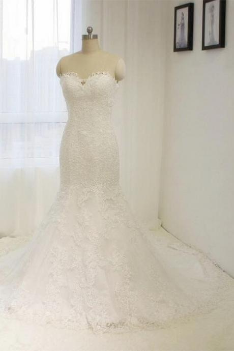 Elegant Tulle Lace Mermaid Wedding Dresses White / ivory Bride dress Custom size