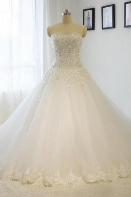 Strapless Beading Bridal Wedding Dresses Ball Gown Sweetheart A line White / ivory Bride dress Custom size