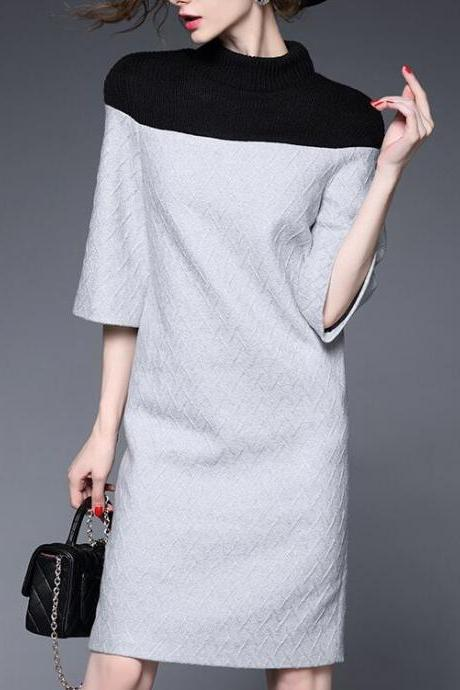 Women Fashion Sweater Splicing dress High quality Half-sleeve Ladies Formal occasions dress evening dress LFZ21