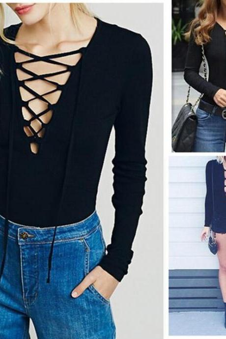 Women Sexy Jumpsuit Long Sleeve Pencil Deep V-Neck Bandage Bodycon Overalls Rompers Jumpsuits Short Bodysuit LFZ30