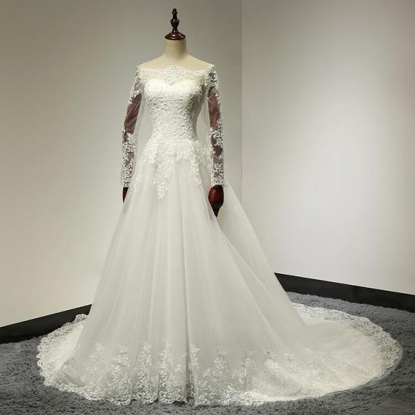 Boat neck lace top a line tulle wedding dress with long for Lace top plus size wedding dress